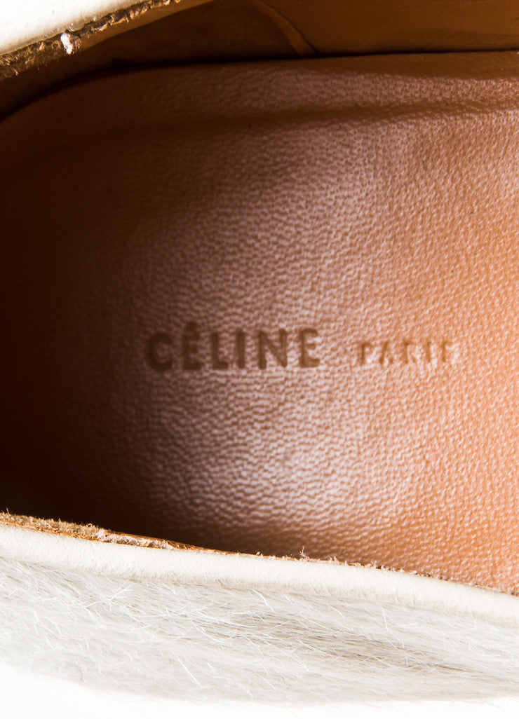 Celine Cream Pony Hair Chain Link Smoking Slipper Loafers Brand