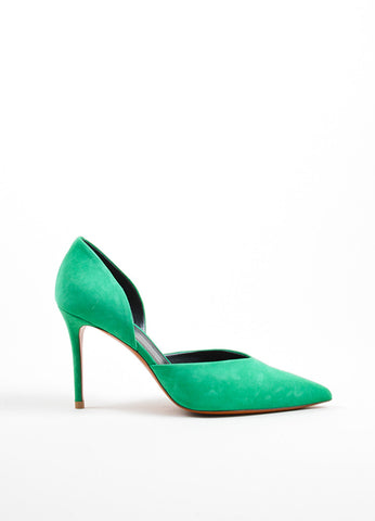 Green Celine Suede Pointed Toe D'Orsay 90mm Pumps Sideview