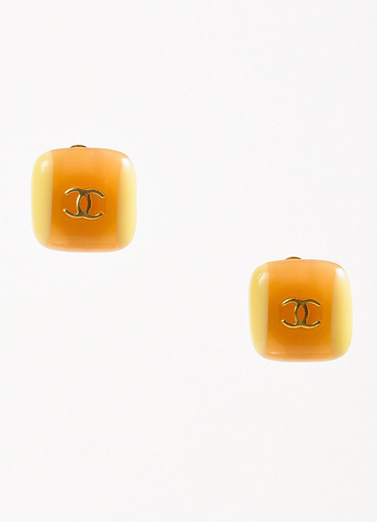 Gold Toned Chanel Tan Resin 'CC' Logo Square Earrings Front
