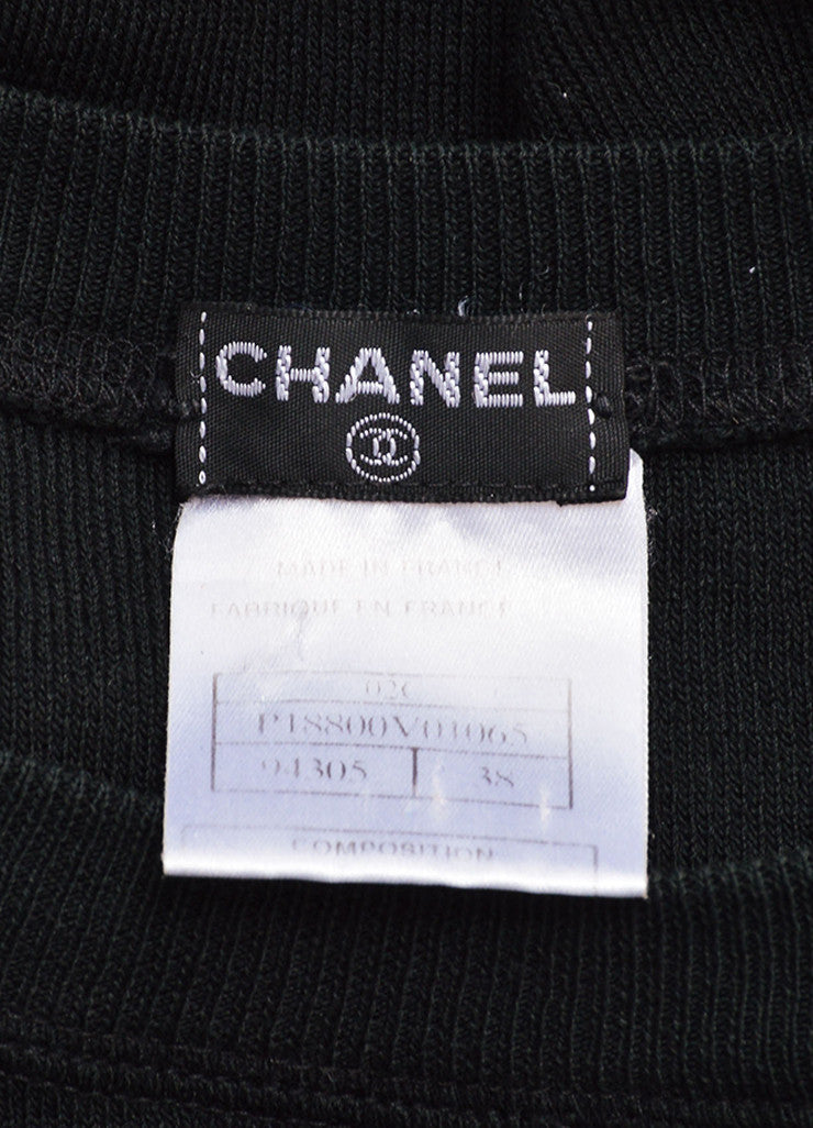 Chanel Black Stretch Knit Crew Neck Short Sleeve Tee Brand