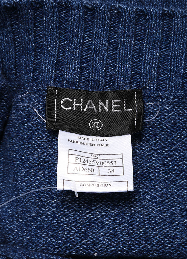 Chanel Navy Mock Denim Cotton Ribbed Trim Chest Pocket Tank Top Brand