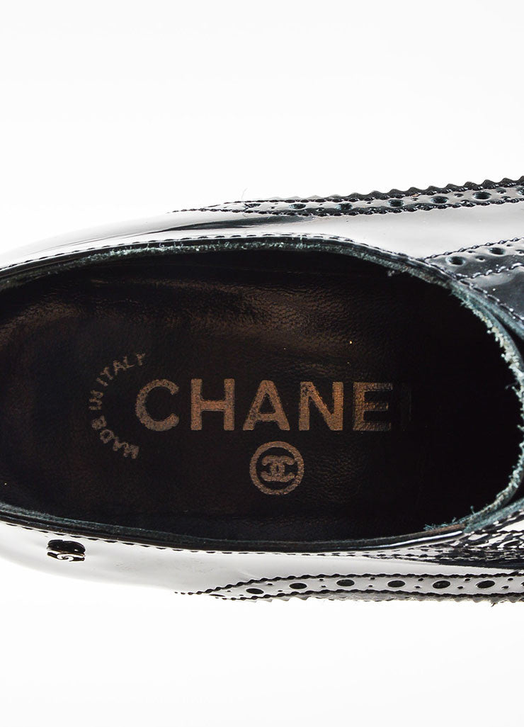 Chanel Black Patent Leather Quilted Brogue High Heeled Booties Brand