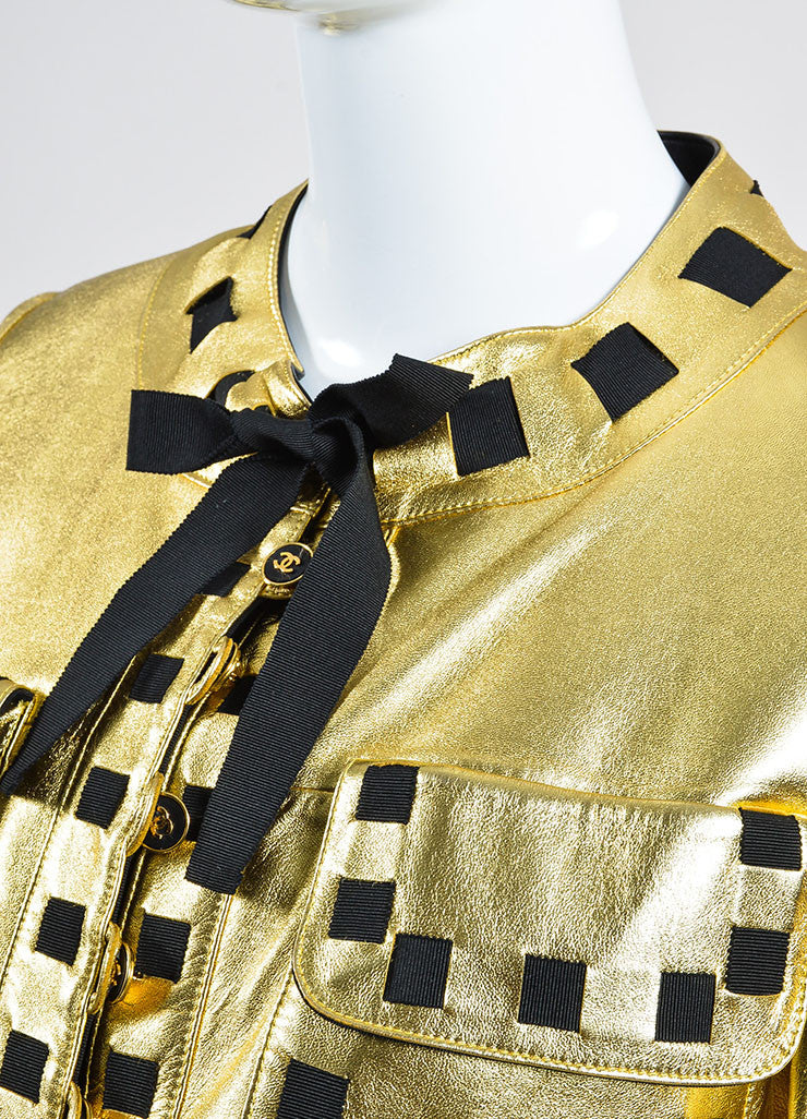 Chanel Black and Gold Metallic Ribbon Trim Buttoned Leather Jacket Detail
