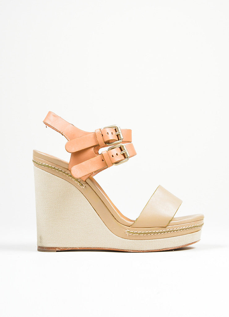"Taupe Chloe Leather and Canvas Sandal Platform ""Groove"" Wedges Sideview"