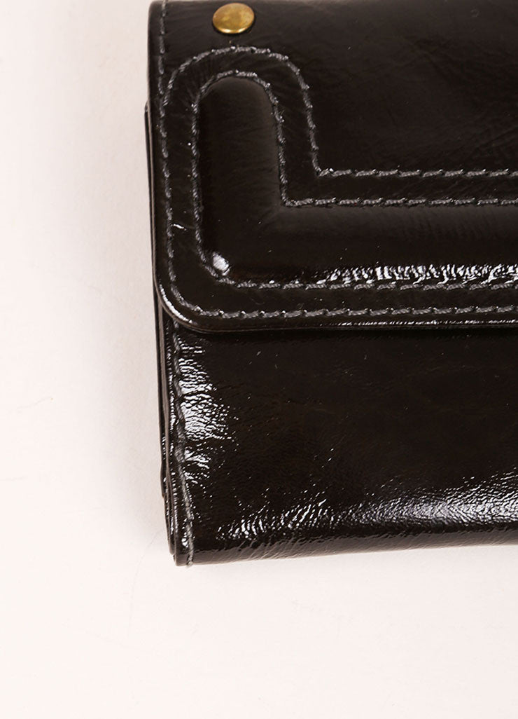 Chloe Black and Brass Tone Patent Leather Flap Continental Wallet Detail