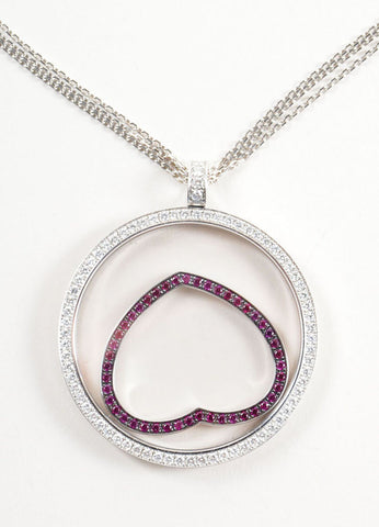 "Chopard 18K White Gold ""Happy Spirit"" Diamond and Ruby Heart Pendant Necklace Detail"