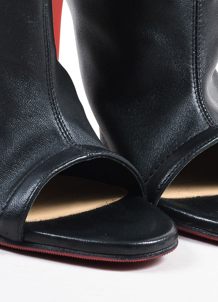 "Christian Louboutin Black Leather Open Heel ""Mistinguetre"" Boots Detail"