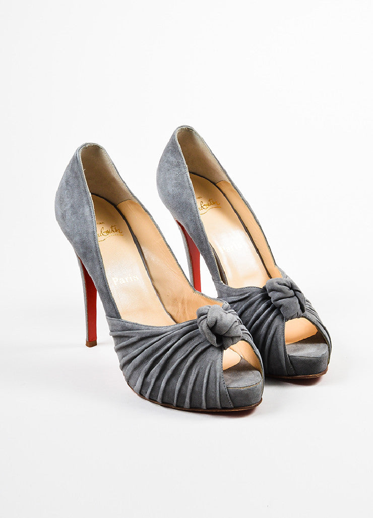 "Christian Louboutin Grey Suede Knotted ""Lady Gres"" Platform Pumps Frontview"