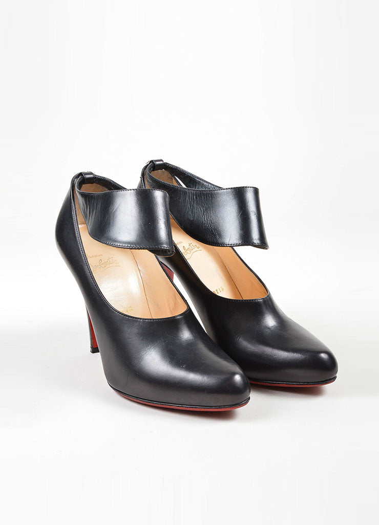 "Black Christian Louboutin Leather ""Miss Zorra"" Booties Frontview"
