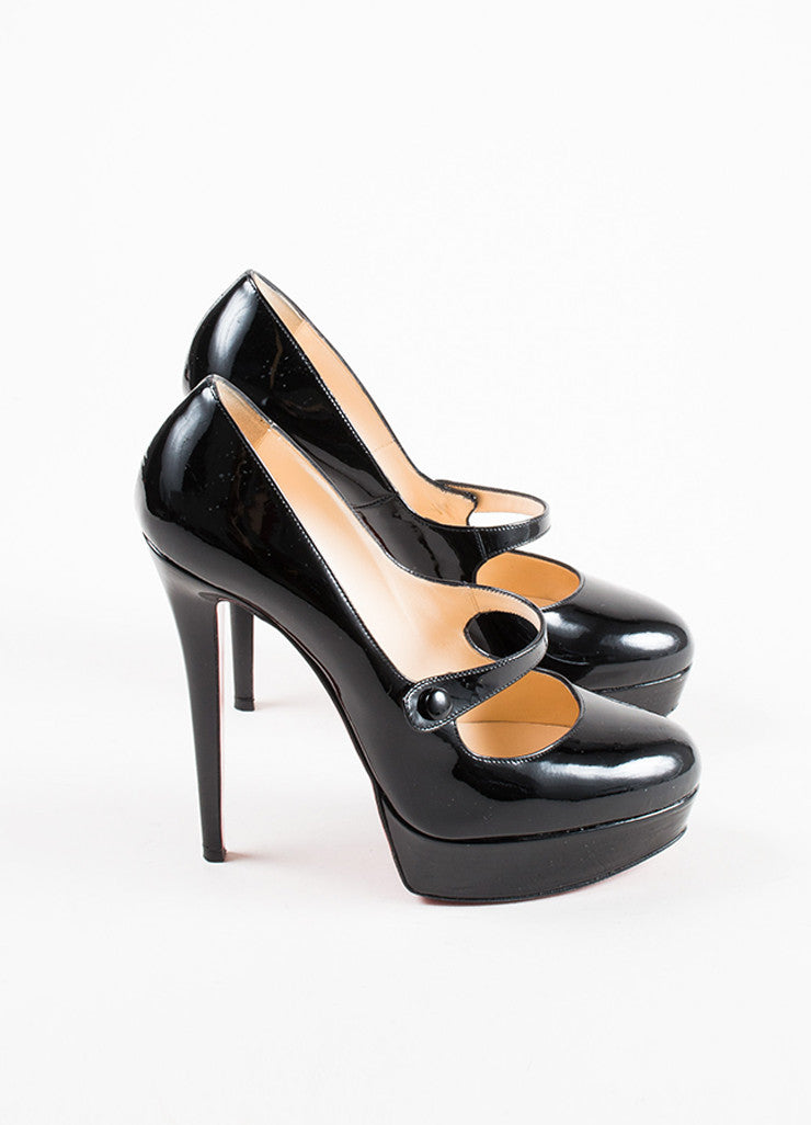 "Black Christian Louboutin Patent Leather ""Relika 140"" Mary Jane Pumps Sideview"