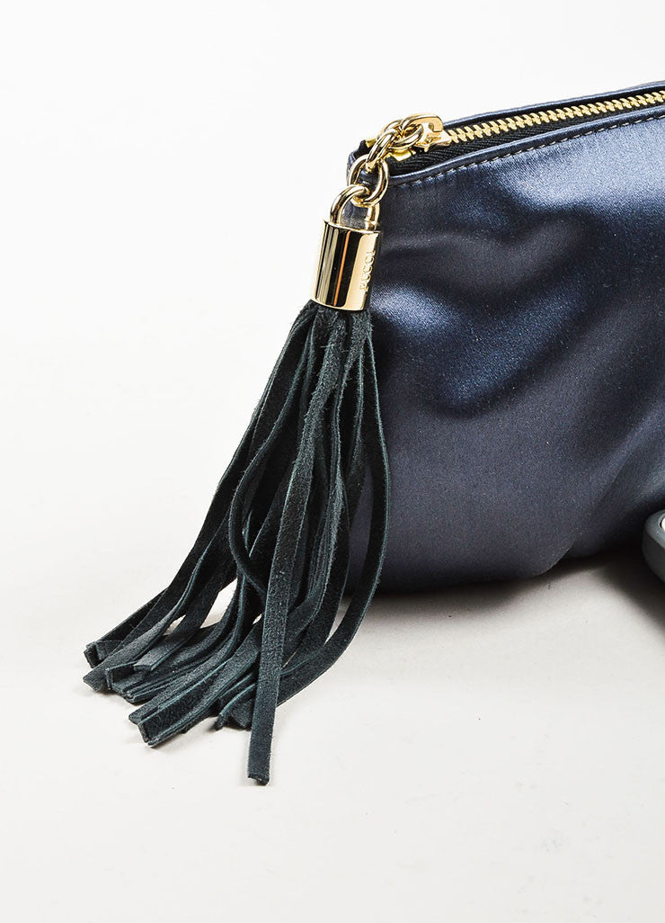å´?ÌÜEmilio Pucci Steel Blue Grey Satin Suede Tassel Zip Clutch Pouch Bag Detail 2