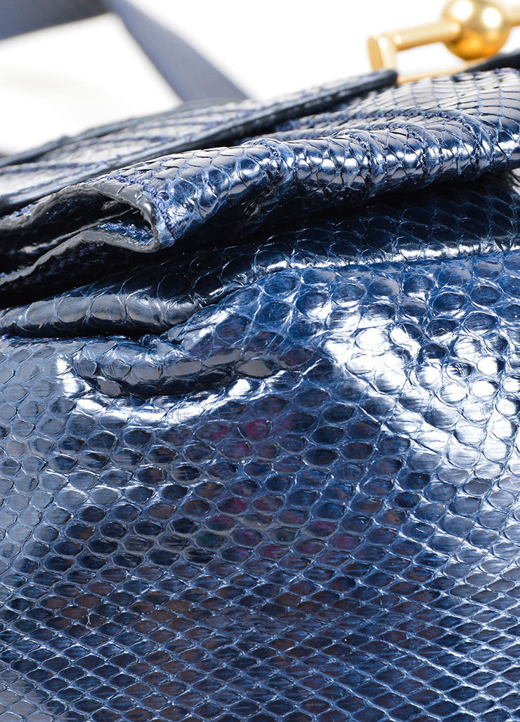 Escada Navy Blue Snakeskin Handbag With Shoulder Strap Detail