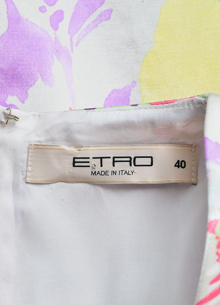 Etro Multicolor Floral Print Sleeveless Pleated Dress Brand