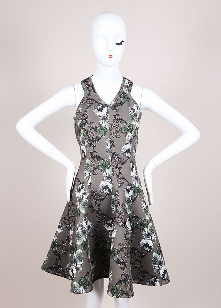 Faith Connexion New With Tags Green Floral Print Neoprene Fit and Flare Dress Frontview