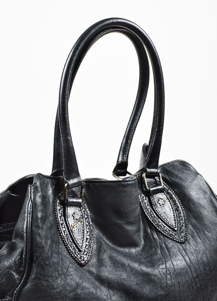 "Fendi Black Leather Top Handle Oversized ""Du Jour"" Shoulder Tote Bag Detail 2"