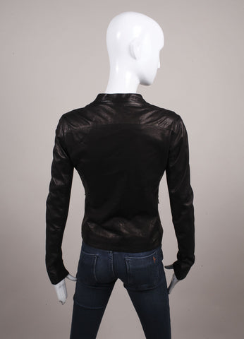 Gimos New With Tags Brown and Black Leather Knit Trim Zipper Jacket Backview