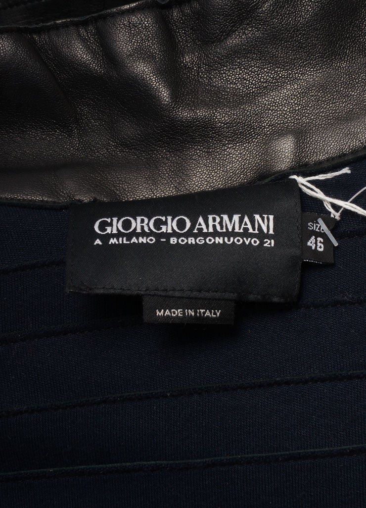 Giorgio Armani Black Tiered Leather Jacket Brand