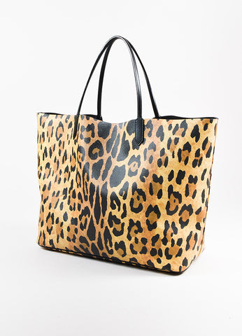 "Givenchy Black and Tan Vegan Leather Leopard Print Textured Large ""Antigona"" Tote Bag Sideview"