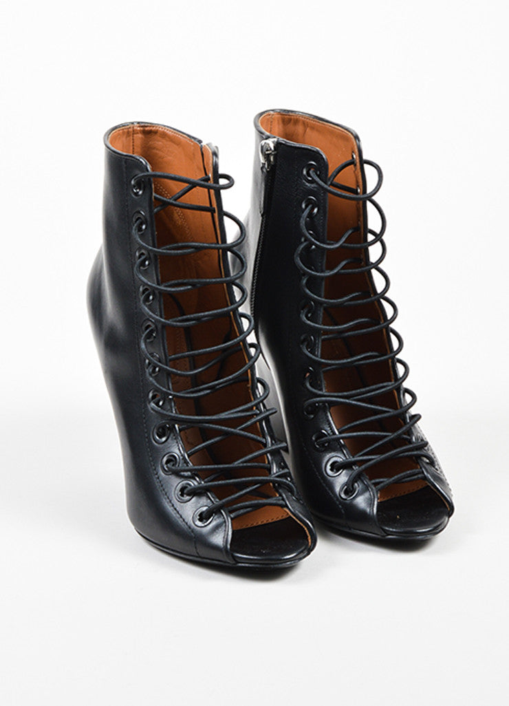 "Givenchy Black Leather Lace Up ""Bondage"" Wedge Heels Frontview"