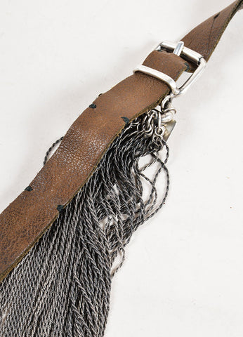 Goti Sterling Silver and Brown Leather Strap Layered Chain Necklace Detail
