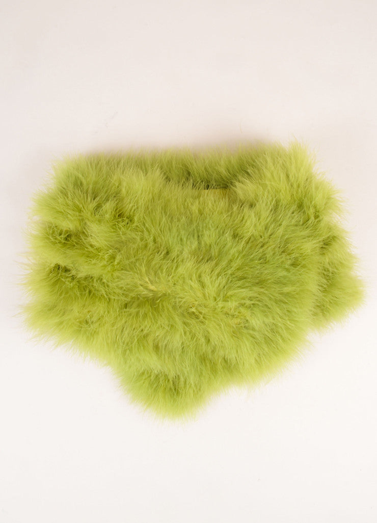Vintage Green Marabou Feather Boa Scarf Frontview