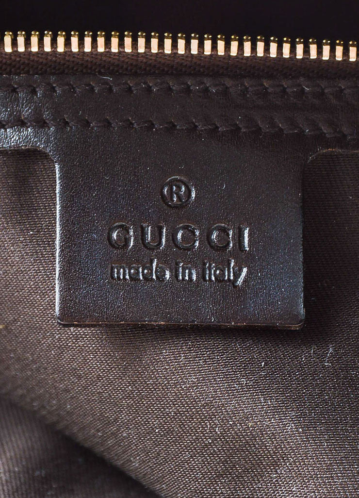 "Gucci Brown and Tan Canvas and Leather Monogram Striped ""Reins"" Shoulder Bag Brand"