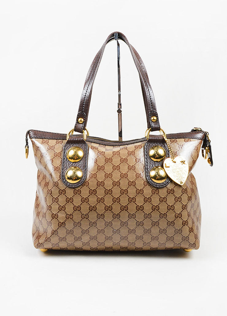 ‰ۢÌöÌÛGucci Brown and Tan Gold Toned Stud Heart Charm Coated Canvas Tote Bag Frontview