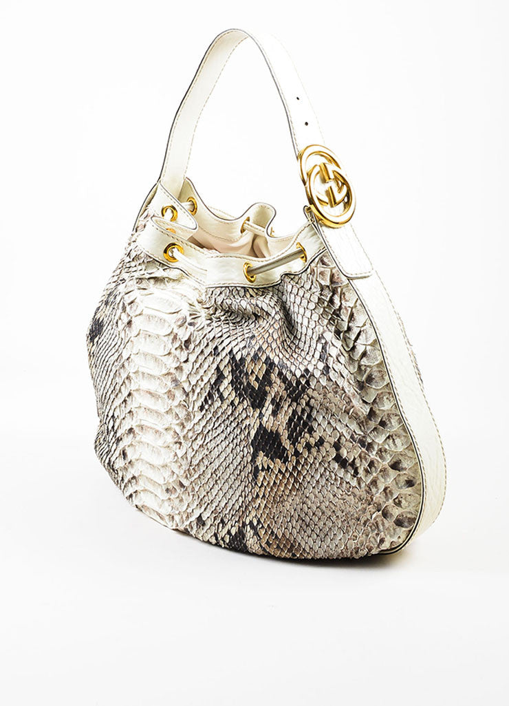 "Gucci Cream and Brown Python Leather Drawstring ""Interlocking Icon"" Hobo Bag Sideview"