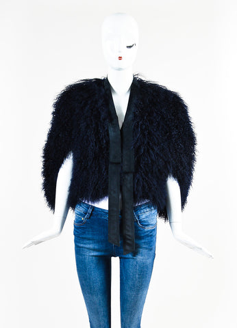 Gucci Navy Blue Shaggy Shearling Fur Suede Tie Sleeveless Shrug Jacket Frontview 2