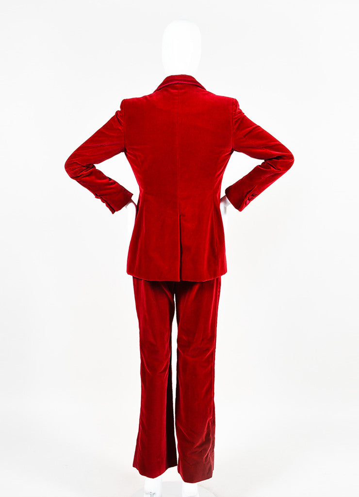 Gucci Red Velvet Satin Trim Wide Leg High Waist Tuxedo Pantsuit Backview