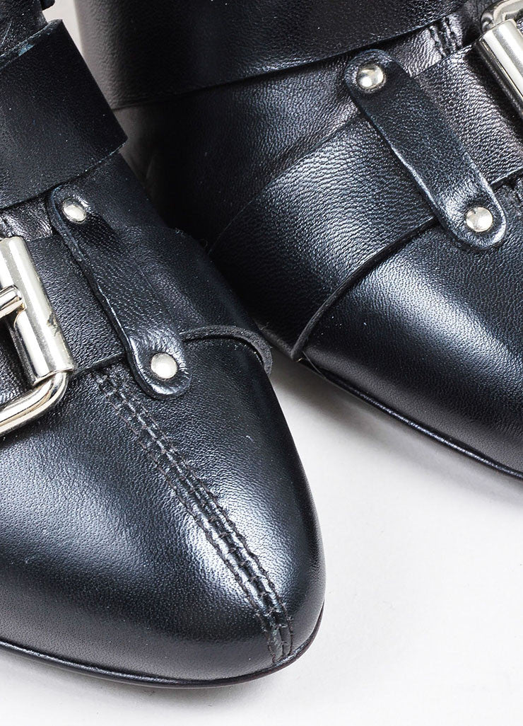 Black Giuseppe Zanotti for Balmain Leather Buckle Cross Strap Ankle Boots Detail