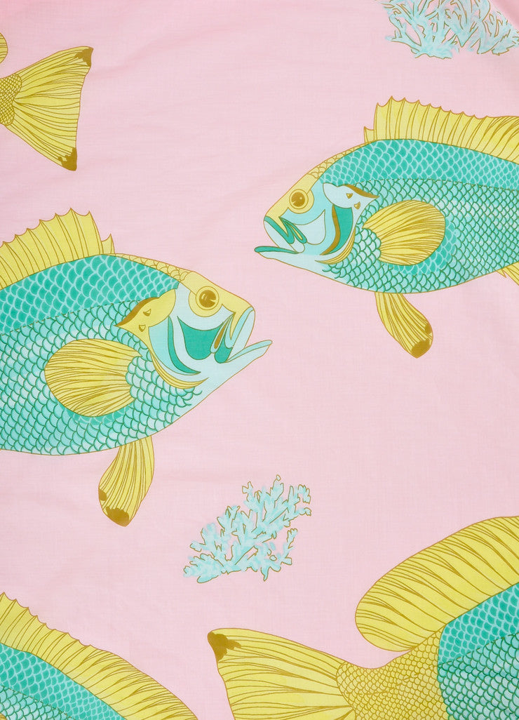 "Hermes Pink, Green, and Yellow Fish Print ""Bali"" Cotton Muslin Beach Pareo Wrap Detail 2"
