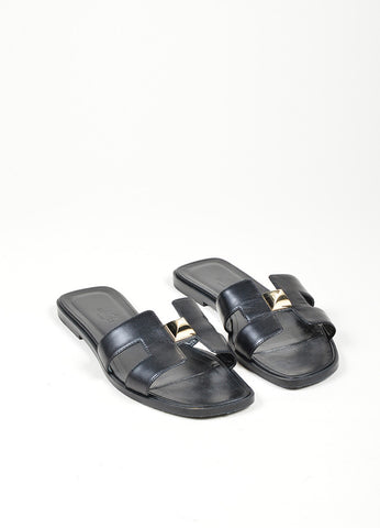 "Black Leather Hermes ""Medor Permabrass Clou Oran"" Flat Sandals Frontview"