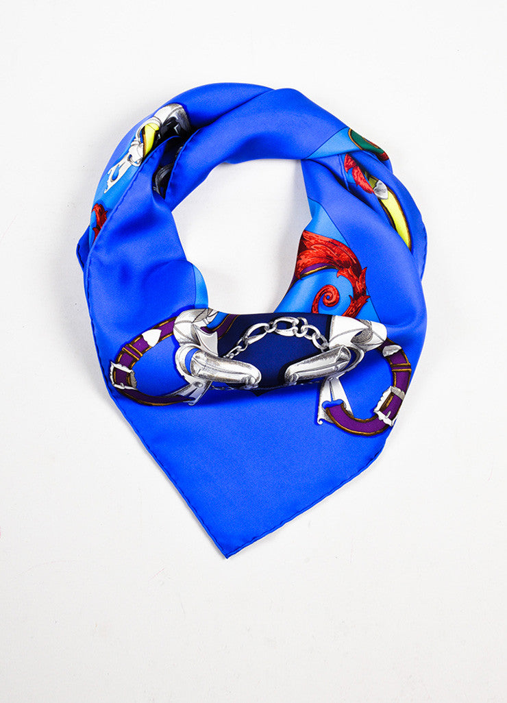 "Multicolor Hermes Silk Horse Bridle Print ""L'Instruction Du Roy"" Scarf Front"