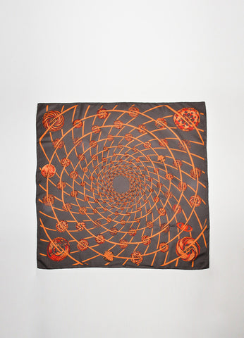 "Brown, Orange, and Red Hermes Silk ""Les Feux de L'Espace"" Printed Scarf Frontview 2"