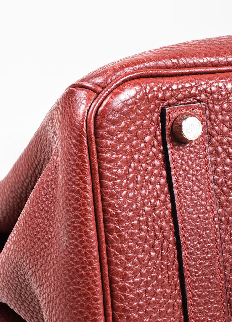 "Hermes Maroon Togo Leather Silver Palladium Hardware 35cm ""Birkin"" Handbag Detail"