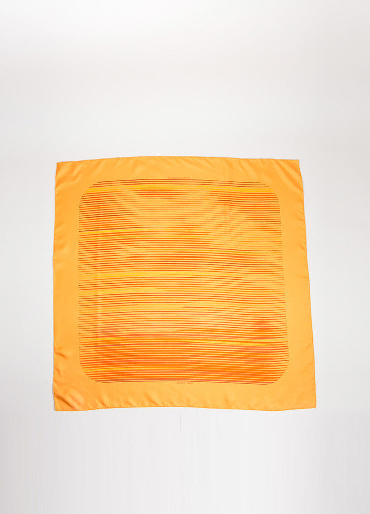 "Orange Hermes Silk Twill Stripe Printed ""Faubourg Express"" 90cm Scarf Frontview 2"