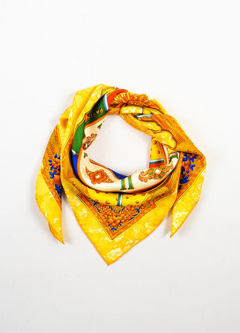 "Hermes Yellow, Orange, and Multicolor Silk Sun Print ""Carpe Diem"" Scarf Frontview"