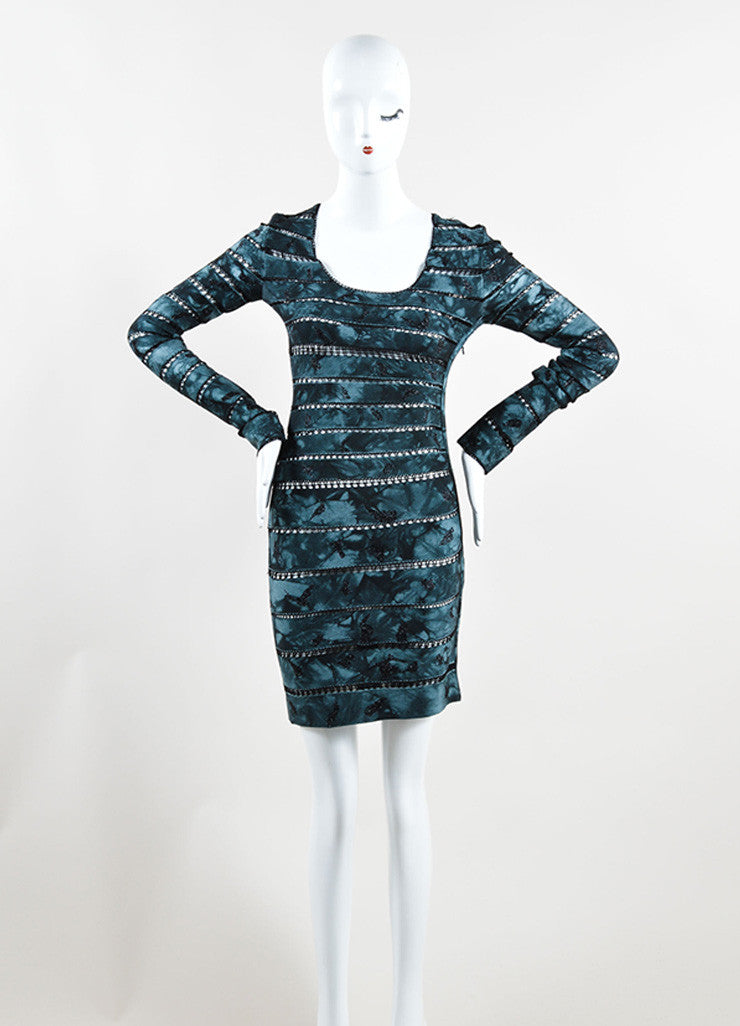 Herve Leger Navy and Black Sheer Crocheted Stripe Bandage Dress Frontview