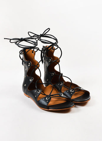 "Black IRO Leather Studded Lace Up ""Xiri"" Flat Gladiator Sandals Front"