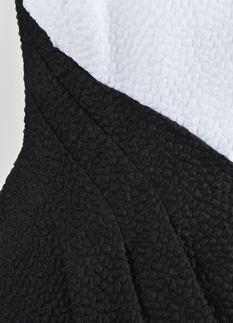 White and Black J. Mendel Textured Asymmetrical Pleated Sleeveless Top Detail