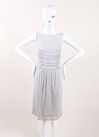 Jason Wu New With Tags Grey Cashmere and Silk Jersey Knit Ruched Sleeveless Dress Frontview
