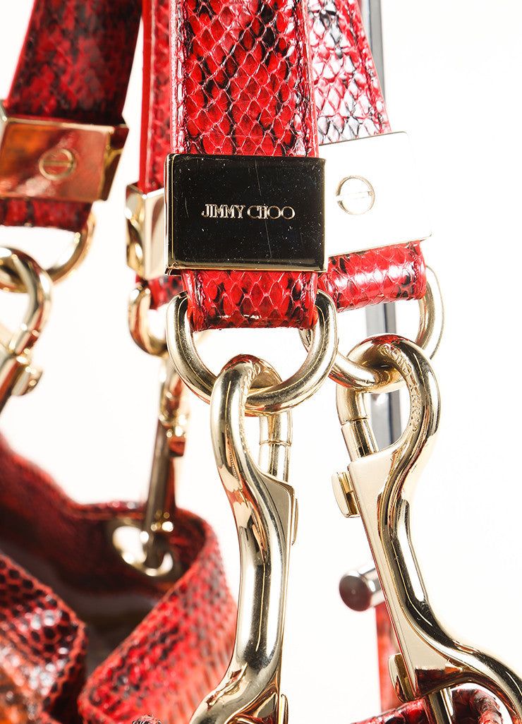 "Jimmy Choo Red Python Snakeskin ""Elaphe Lohla-Jayne"" Tote Bag Detail 2"