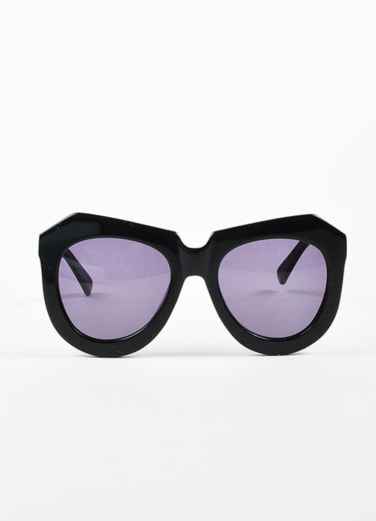 "Karen Walker Black ""One Worship"" Oversized Sunglasses Frontview"
