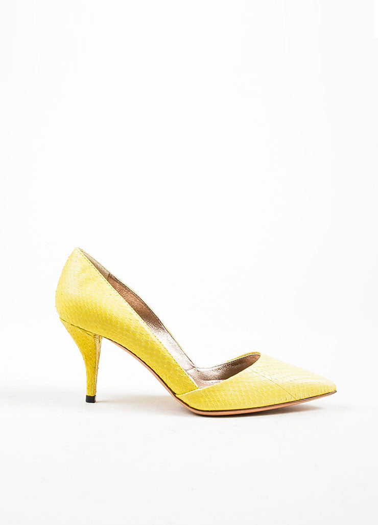 Lanvin Lemon Yellow Snakeskin Point Toe D'orsay Heels Pumps Sideview