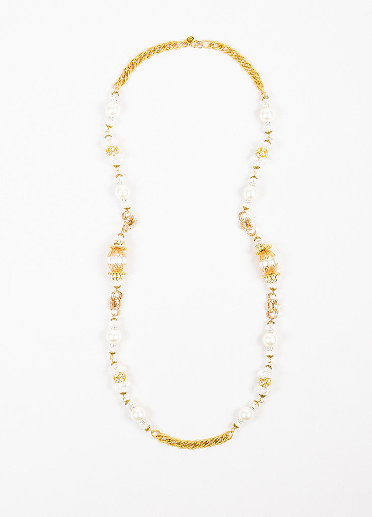 Lawrence Vrba Gold Toned White Faux Pearl Crystal Embellished Strand Necklace Frontview