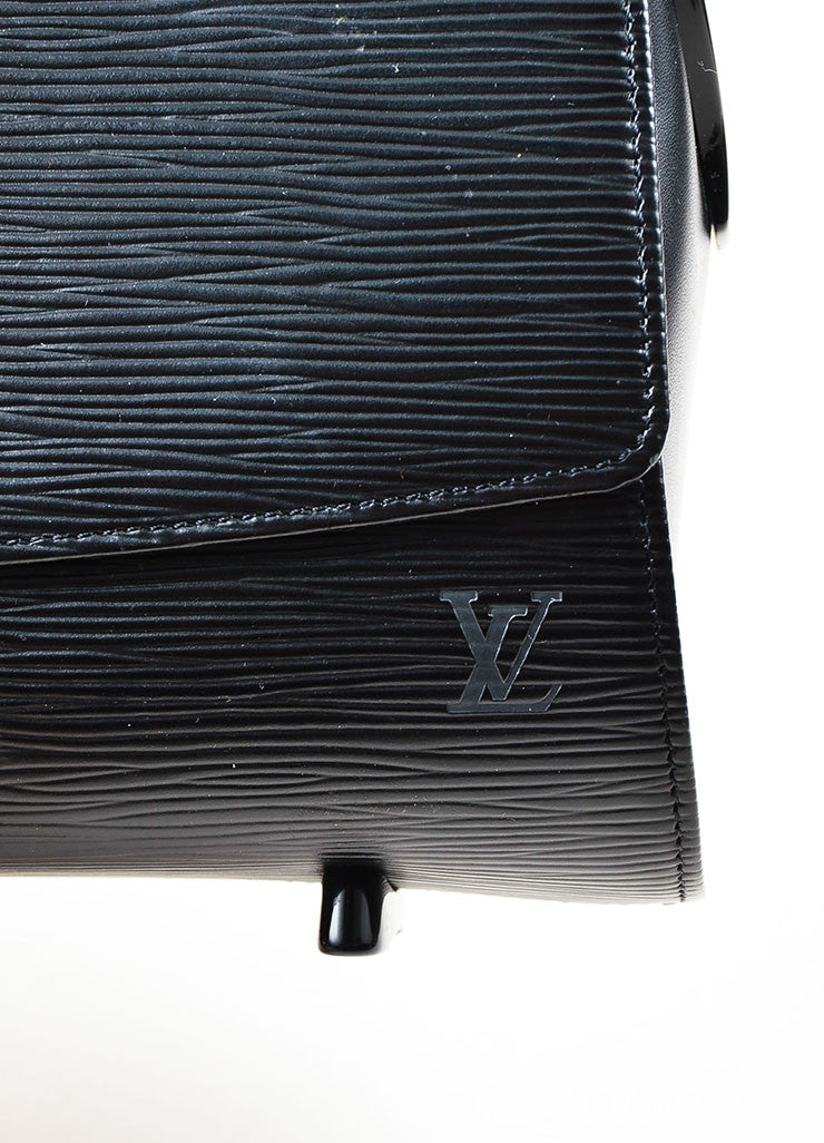 "Louis Vuitton Black Epi Leather East West ""Nocturne GM"" Shoulder Bag Detail 2"