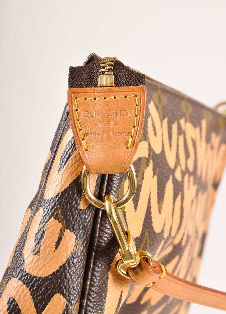 "Louis Vuitton x Stephen Sprouse Brown and Coral Monogram Canvas ""Graffiti"" Pochette Bag Detail 2"
