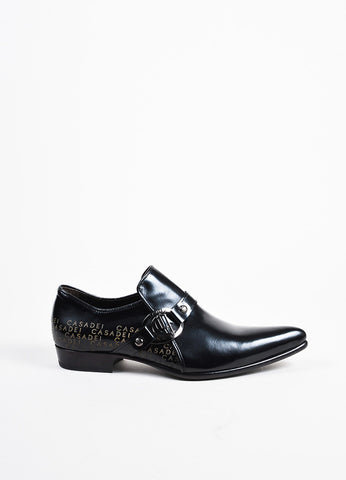 Men's Black Casadei Leather Pointed Buckle Loafer Shoes Side