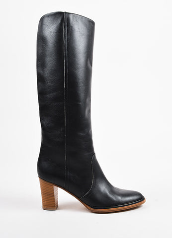 Black Maison Martin Margiela Leather Knee High Heeled Boots Side